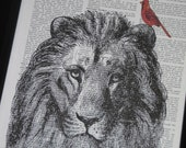 BOGO SALE Cardinal and Lion Art Print Dictionary HHP Original Book Page Print Upcycle Wall Art Book Art Cardinal and Lion