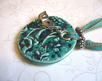 Masquerade Ceramic Pendant & Silk Ribbon