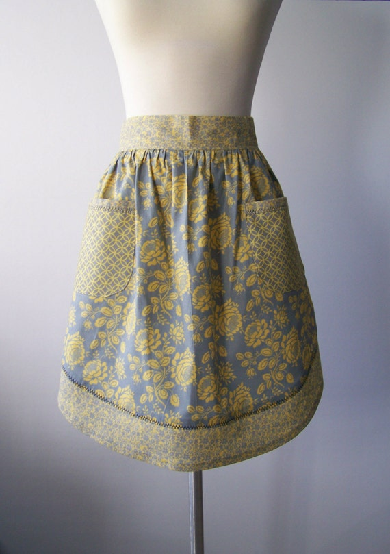 Yellow and Gray Cute Half Apron Modern Floral Print