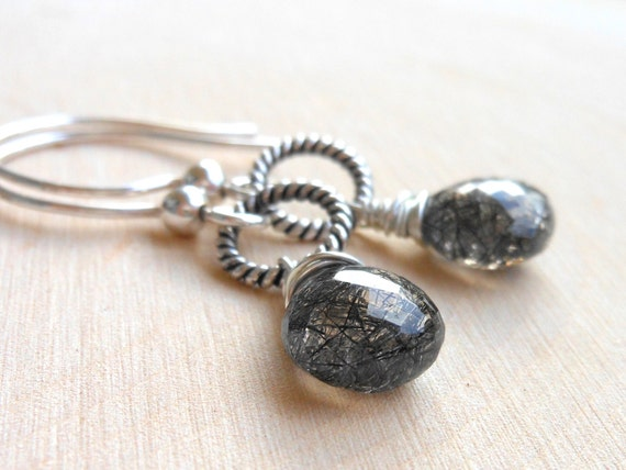 Black Rutilated Quartz Earrings, Tourmalinated Quartz, Sterling Silver Wire Wrapped Earrings