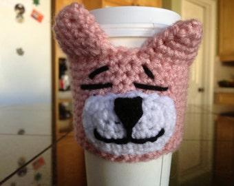 Pink Tabby Cat Coffee Cozy Amigurumi