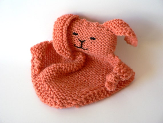 Handknit Small Papaya Bunny Blanket Toy