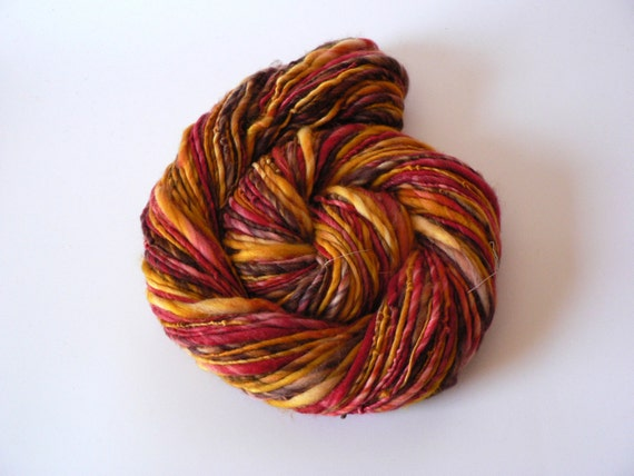 Handspun Superwash Merino Yarn Hand Dyed -Sahara Sunset 116 yards Worsted Weight