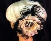 Wedding Flower Hair Clip, Wedding Veil, Fascinators and Mini Hats, Wedding Brooch, Vintage Inspired, Wedding Hairpiece, Speakeasy Wedding
