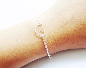 Silver Heart Bracelet Dainty Bracelet Heart Silver Bracelet
