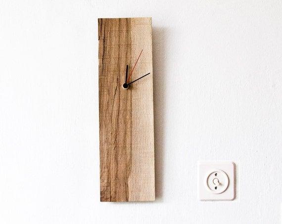 wood wall clock rectangular wooden clock modern wall clock. Black Bedroom Furniture Sets. Home Design Ideas