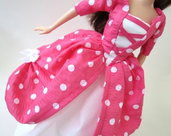 Made to Order Barbie dress: Polka Dot in Pink, Purple, Teal or Lime
