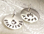 Hand Stamped Personalized Charm - Add a Charm with a  Name or Word and Design -  5/8 Inch Sterling Silver Disc - Domed, Cupped or Flat Style