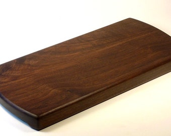 Cutting / Serving Board with Handles in Curved Ends - Solid Oregon Black Walnut, great gift for men who cook