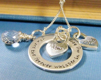 2-3 hearts memory necklace mourning, pure rox in print exclusive phrase grieving, bereavement, to mom for mothers day sterling silver