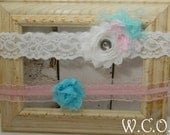 Breakfast at Tiffany's Bridal Garter set With Coordinating Toss Garter White Stretch Lace and Shabby Chiffon Flower