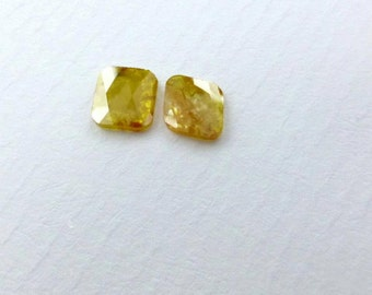 DiAMOND SLiCES. Faceted. MATCHeD PAiR. Natural. Red / Rust Patterns on Yellow Body. 2 pc. 0.80 cts. 6.5x5.5 mm (Dia267)