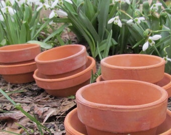 Vintage terra cotta pots ~ Lot of 10 small flowerpots with 10 matching drainage dishes /  craft supplies for plants, herbs, flowers, seeds