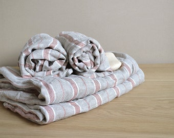 Linen Towels Set Of 4 Pre-washed Natural Linen Body Towels Gift Set For Two Bath Sheet With Red Stripes Two sizes