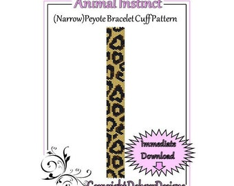 Animal Instinct (Narrow) - Beaded Peyote Bracelet Cuff Pattern