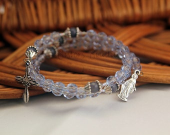 Our Lady of Grace Rosary Bracelet, Ice Blue Crystal and Blue Aventurine