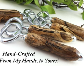 Personalized Engraved Wood Bottle Openers - 6 Hand Crafted Best Man Gift, Groomsman Gifts, Wedding Favor, Wedding Keepsake - FREE ENGRAVING