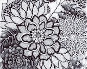 """Original Ink Drawing - """"Black Lace"""" - Black White Decor - Back and White Flowers - HAND DRAWN 8x10"""" Flower Art - Modern Wall Decor"""