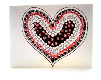No Ordinary Love Card- Valentine Card For Him - Hand Drawn Card - Heart - Heart Art - Ink Drawing Black and White, Red