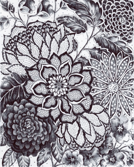 Lace Flowers Drawings Original Ink Drawing Black