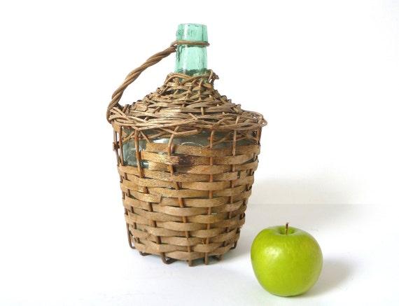 Vintage Wicker Demijohn ... Green Glass Bottle, Verisa, Woven, Basket Wrapped, Wine Bottle, Spanish Jug, Gallon