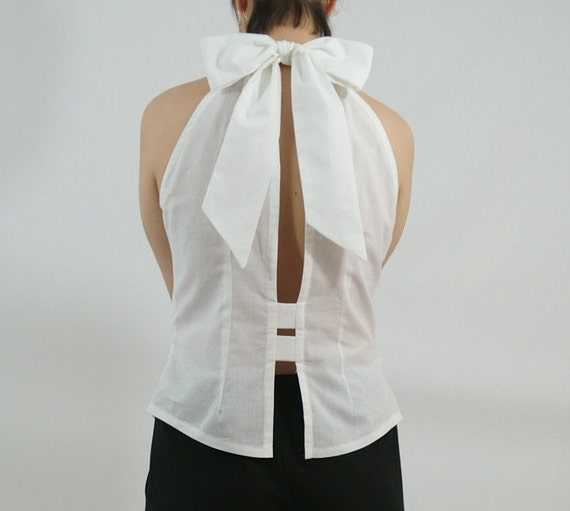Sleeveless Bow Back Top with Open Back in Crisp White Cotton - Spring Collection - Size M