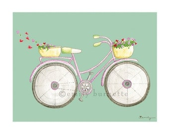Special Delivery Print - Bedroom Office Kitchen Wall Art Print - Bicycle Cruiser - Teal mint violet- Emily Burnette - Recipe 4 Cute
