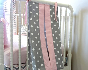 Pink and Gray Custom Made Diaper Stacker