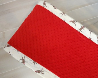 Red Sock Monkey Contour changing pad cover.  Available in many fabric choices.