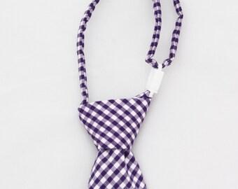 Purple Gingham Clip on Necktie - Infant, Toddler, Boys