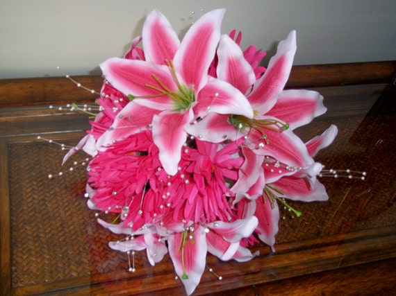 Pink Stargazer Lily Bridal Bouquet Lily And Gerbera Daisy