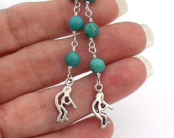 Kokopelli Earrings Turquoise Sterling Silver