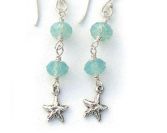 Sterling Silver Starfish Earrings Swarovski Pacific Opal