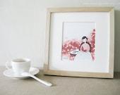 Tea Time with Nadia - 5x7 Pen & Ink Illustration - Kitchen Art / Tea Art