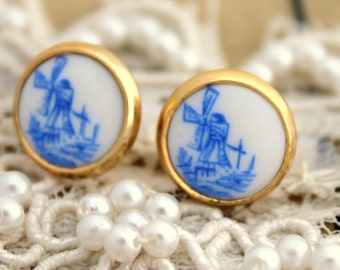 Delft Stud Earrings, Vintage Style Earrings, Gift For Her, Bridesmaids Earrings, Gold Earrings, Shabby Chic Earrings