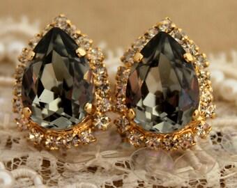 Gray Stud Earrings,Black Diamond Earrings,Swarovski Dark Gray Earrings,Gray Teardrop Earrings,Bridesmaids Earrings,Bridal Gray Earrings