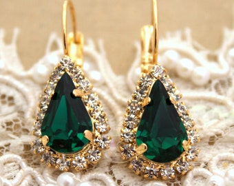 Emerald Drop gold earrings, Emerald Bridal jewelry, Green Crystal earrings, Emerald dangle earrings, Swarovski earrings, Wedding jewelry.