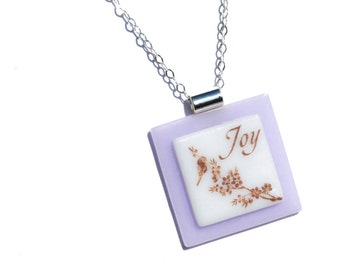 Simply Whimsical Fused Glass Pendant - Joy, Bird, Tree, Woodland, Nature, Outdoors - Sepia, Pale Lilac, White (Item 10556-P)
