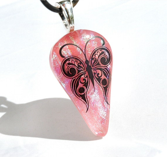 Pink Butterfly Pendant, Fused Glass Jewelry Dichroic Fused Glass Nature Outdoors, Spring (Item 10053-P)