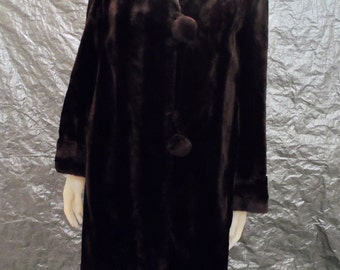 Vintage Faux Fur Dark Chocolate Brown Luxurious 70's Coat  L