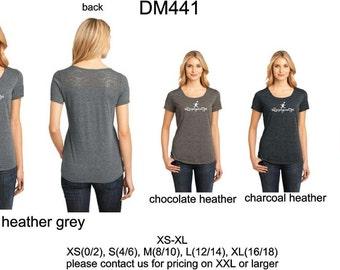 DM441 letsplaymusic ladies triblend lace scoop tshirt