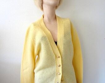 1960s Wool Sweater limoncello knit cardigan - vintage pendleton fashion