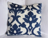 Navy Blue and White Floral Ikat Graphic Pillow Cover 18x18