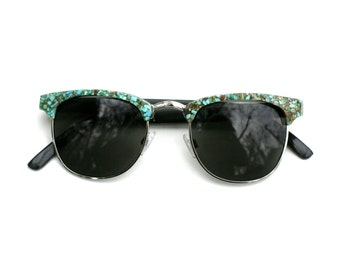 Fawn's Turquoise Faced Sunglasses Clubmaster // Mahogany and Turquoise