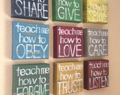 "Reserved for Kellyann- SET of 9 MADE to ORDER-""Teach Me"" 6x6x1.5""Canvas Blocks - Child's Room, Home Decor, Teacher Gift"