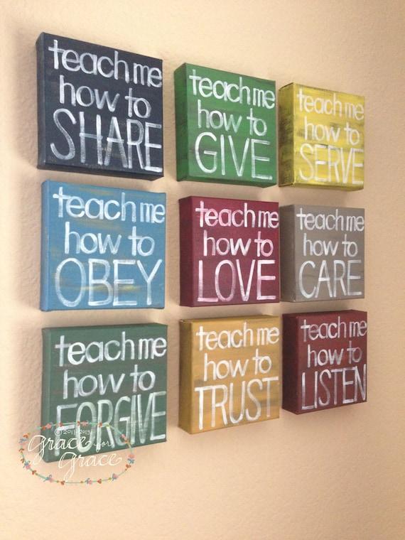 "Reserved for Kori - Custom MADE to ORDER-""Teach Me"" 6x6x1.5""Canvas Blocks + 1 (12x12) Child's Room, Home Decor, Teacher Gift"