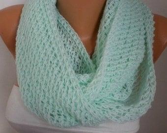 Mint Scarf Knit  Infinity Scarf Shawl Circle Scarf  Loop  Scarf Gift -Baby Yarn chunky infinity scarf-  fatwoman
