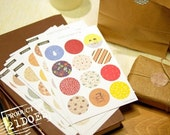 208 Pcs Korea Vintage Paper Deco Sticker Stamp Round Shape Stickers