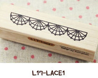 1 Pcs Wooden Rubber Stamp - Vintage Style -Lace Stamps L17