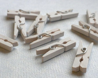 """White Mini Clothespins - 25 - 1"""" or 2.5 cm - Wooden - Great for Wedding Favors and Decorations"""